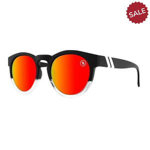 Blenders // Sunset Kid-Sunglasses-Blenders-Matte Black&Clear/Red Polar Lenses-Viso Sun Shop