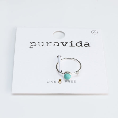 Pura Vida // Double Stone Ring - Turquoise-Accessories-Puravida-Viso Sun Shop