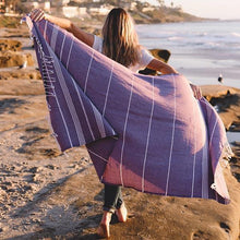 Load image into Gallery viewer, Sand Cloud // Classic Stripes Recycled Towel-Plum-Towels-Sand Cloud-Viso Sun Shop