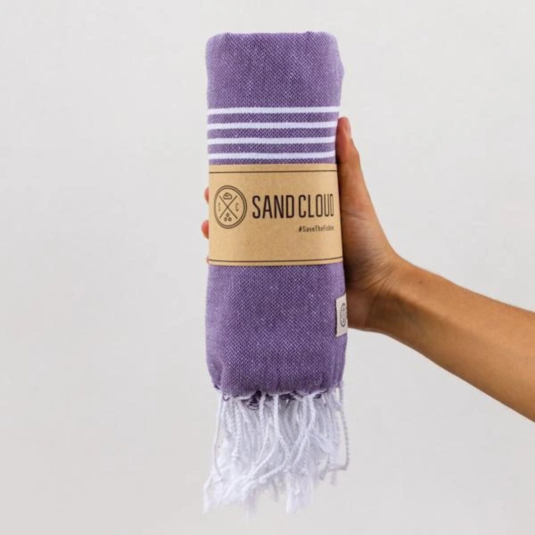Sand Cloud // Classic Stripes Recycled Towel-Plum-Towels-Sand Cloud-Viso Sun Shop