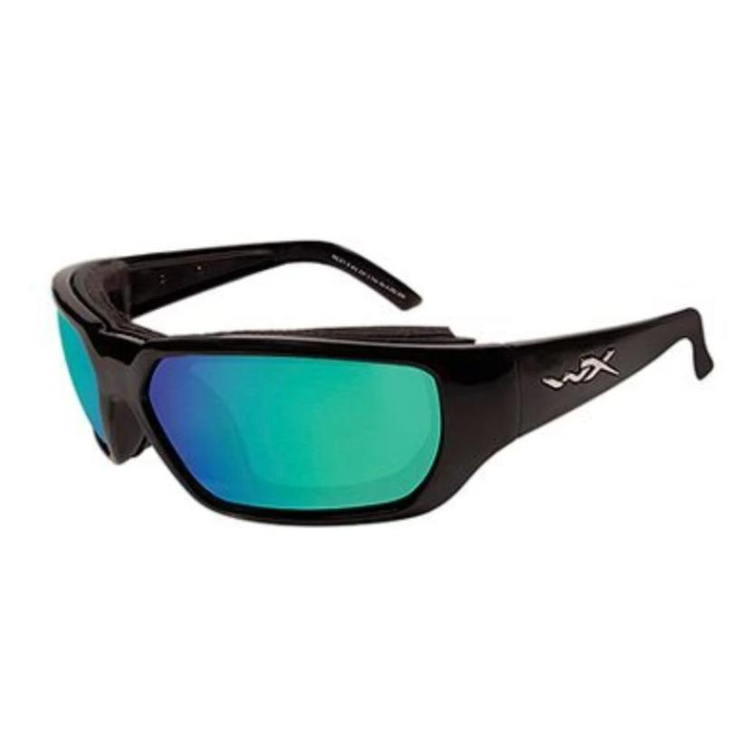 Wiley X // Rout-Sunglasses-Wiley X-Gloss Black/Green Mirror Polarized-Viso Sun Shop