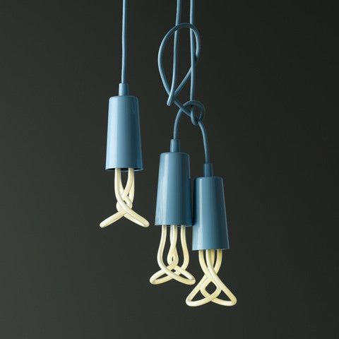 Baby Plumen 001 designer light bulb in pastel blue Drop Cap lighting pendant