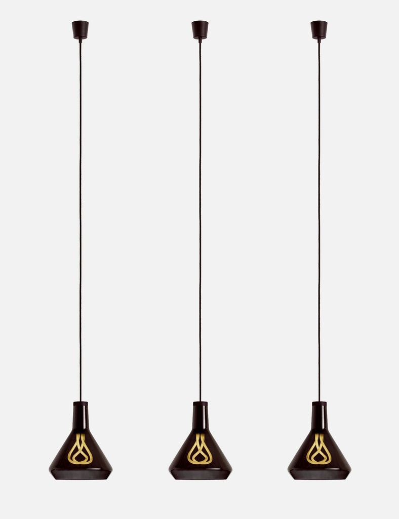 3 Plumen 002 and black drop top shade with pendant