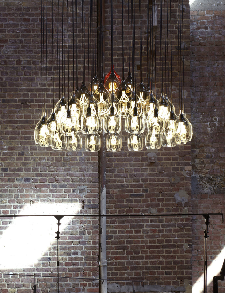 Vessel 2 Lamp Shade - Diagonal Cut - Clear Glass with Plumen 001 Bulb