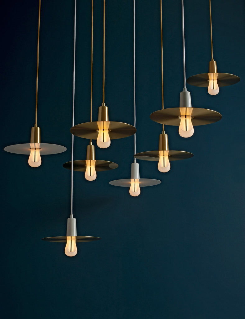plumen brass and white drop hat and pendant with 002 in chandelier cluster