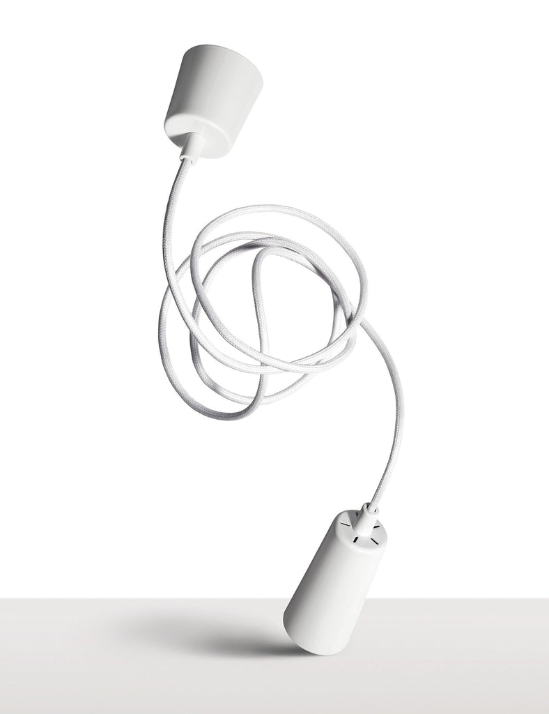 plumen drop cap pendent and cable white