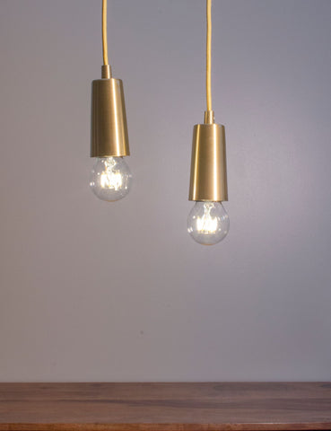 Brass Drop Cap Pendant and Wanda Dimmable LED Light Bulb