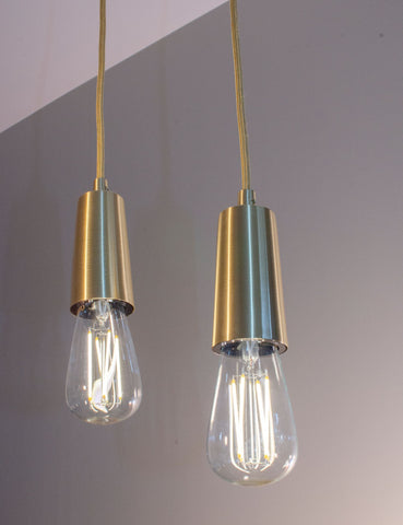 Brass Drop Cap Pendant and Willis Dimmable LED Light Bulb