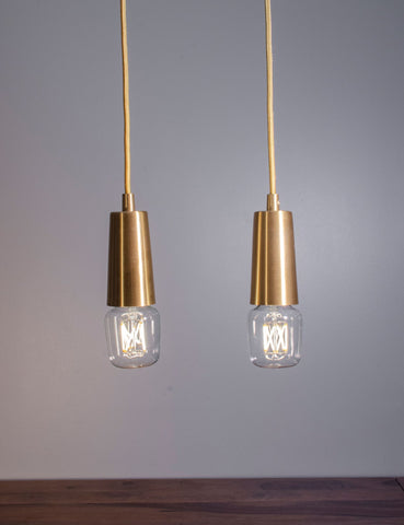 Brass Drop Cap Pendant and Wilbur Dimmable LED Light Bulb