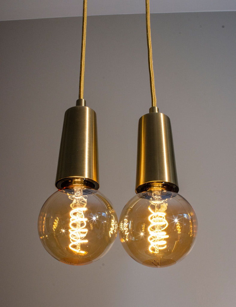 Whirly Wyatt Gold Dimmable LED + Brass Drop Cap Set