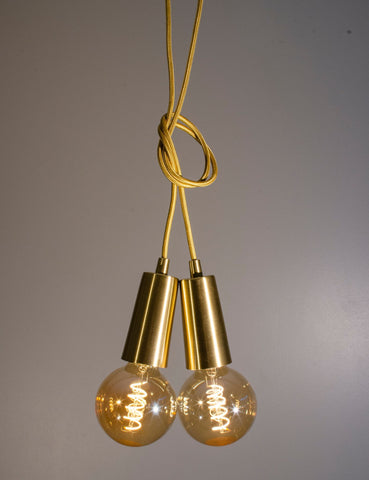 Brass Drop Cap Pendant and Wyatt Dimmable LED Light Bulb