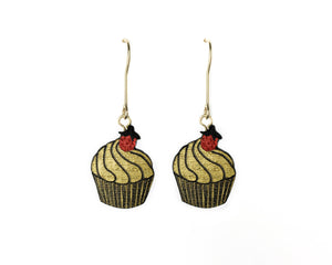 SPECIAL EDITION - Unique earrings hand painted in France - Cupcake