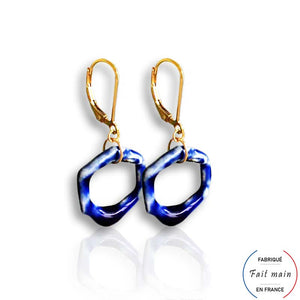Boucles d'oreilles ALTHEA en porcelaine - hexagone