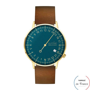 Montre CABARET 24h bleue et or - cuir marron