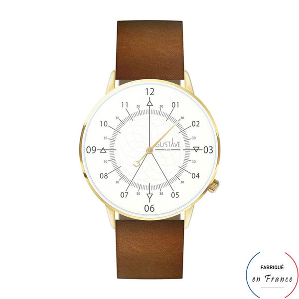 Montre ODEON 12h blanche et or - cuir marron