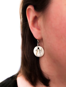 GUIPURE - Unique earrings hand-painted in France - Black Dress