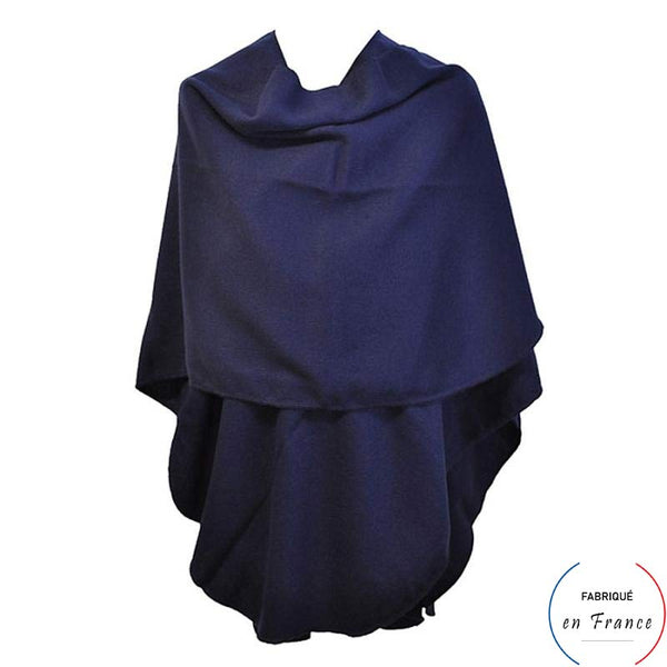Grand poncho CROZON - bleu arrondi