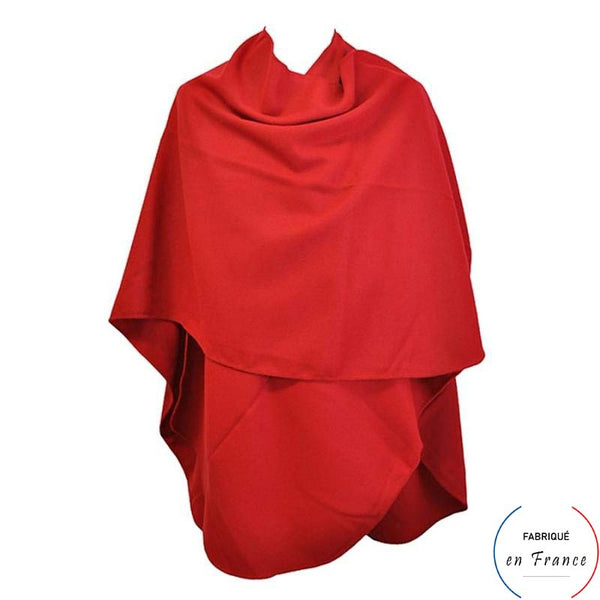 Grand poncho GAGEAC - rouge arrondi