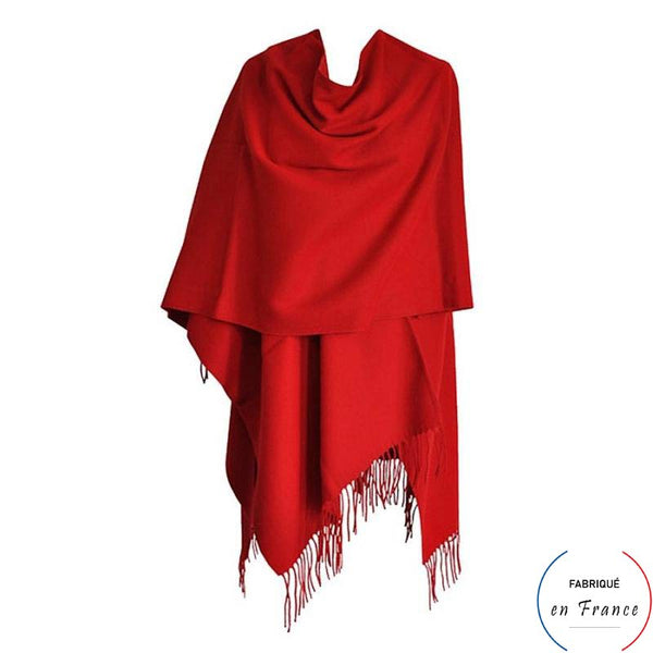 Grand poncho ALBI - rouge à franges