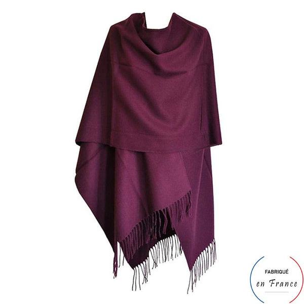 Grand poncho TOULOUSE - violet à franges
