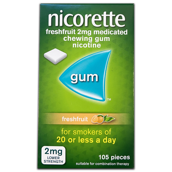 Nicorette FreshFruit 2mg Coated Gum 105 Pieces - Medipharm Online