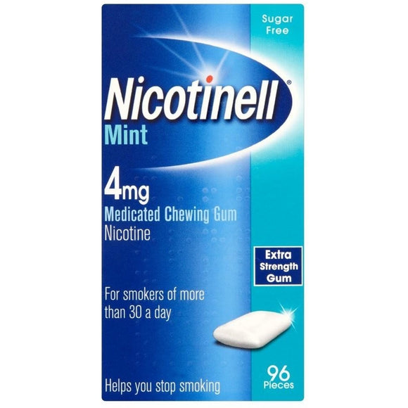 Nicotinell Cool Mint 4mg Medicated Gum 96 - Medipharm Online Pharmacy Dublin Ireland - medipharm.ie