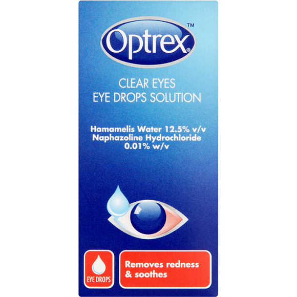 Optrex Clear Eyes Eye Drops Solution 10ml - Medipharm Online Pharmacy Dublin Ireland - medipharm.ie