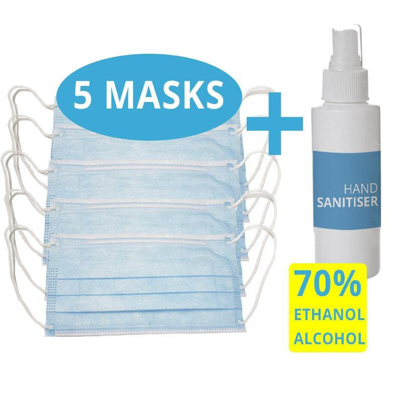 Hand Sanitiser with 70% ETHANOL ALCOHOL + 5 Face Mask  - COVID-19 Alert Essential