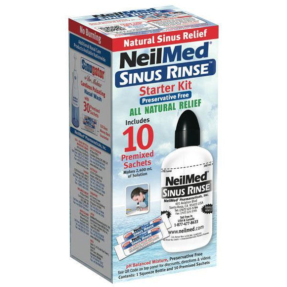 NeilMed Sinus Rinse Starter Kit 240ml Bottle & 10 Premixed Sachets