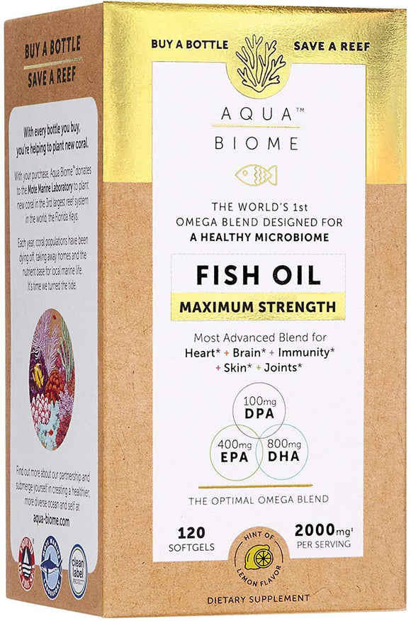 Aqua Biome Fish Oil Max Strength 120s - Medipharm Online