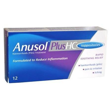 Anusol HC - 12 Suppositories OTC - Medipharm Online - Cheap Online Pharmacy Dublin Ireland Europe Best Price