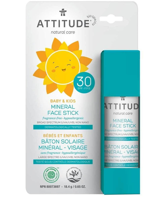 Attitude Baby & Kids Mineral Sunscreen Face Stick SPF 30 - Medipharm Online