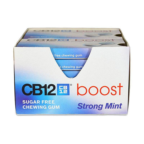 CB12 - Boost Chewing Strong Mint Gum - Pack of 10 Pieces X 12