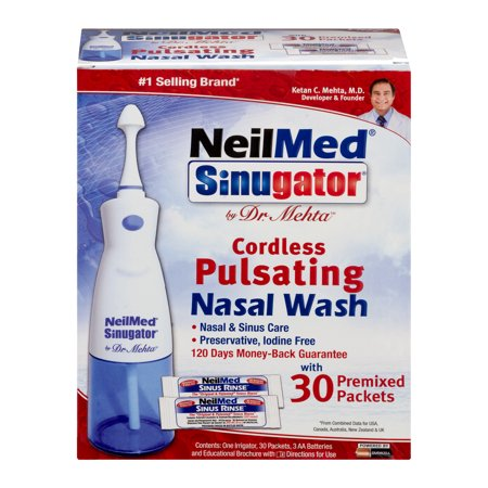 NeilMed Sinugator - Cordless Pulsating Nasal Wash 30 Premixed Sachets - Medipharm Online - Cheap Online Pharmacy Dublin Ireland Europe Best Price