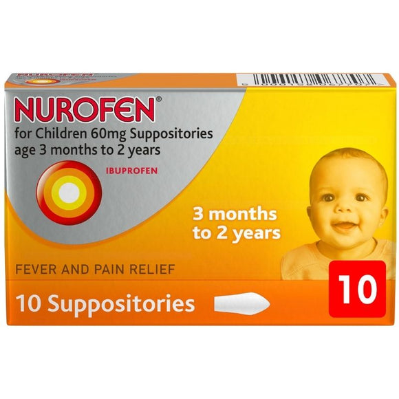 Nurofen Children 60mg Suppositories (3-24 Months) 10 Pack