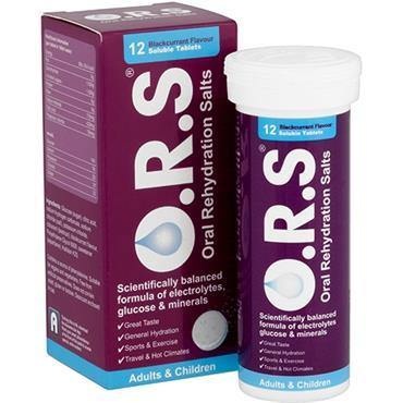 O.R.S. Rehydration Salts (ORS) - Blackcurrant Flavour - 12 Soluble Tablets - Medipharm Online - Cheap Online Pharmacy Dublin Ireland Europe Best Price