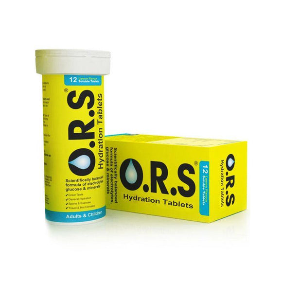 O.R.S. Oral Rehydration Salts (ORS) - Lemon Flavour - 12 Soluble Tablets - Medipharm Online - Cheap Online Pharmacy Dublin Ireland Europe Best Price