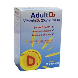 Shield Health Adult Vitamin D3 25 ug (1000 IU) 100 Capsules