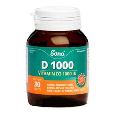 Sona D 1000 Vitamin D3 1000iu 30 Tablets - Medipharm Online - Cheap Online Pharmacy Dublin Ireland Europe Best Price