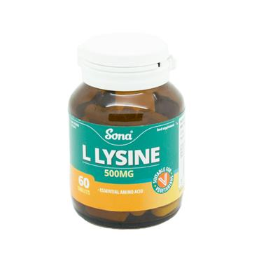 Sona L-Lysine 500mg 60 Tablets - Medipharm Online - Cheap Online Pharmacy Dublin Ireland Europe Best Price