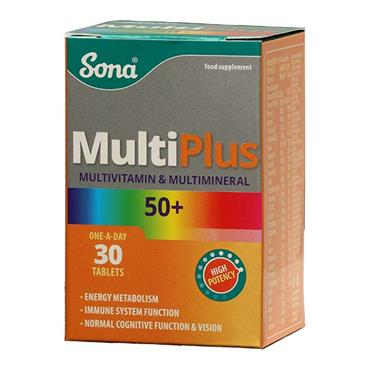 Sona MultiPlus Multivitamin and Multimineral 50 plus 30 Tablets - Medipharm Online - Cheap Online Pharmacy Dublin Ireland Europe Best Price