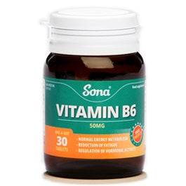 Sona Vitamin B6 50mg One A Day 60 Tablets - Medipharm Online - Cheap Online Pharmacy Dublin Ireland Europe Best Price