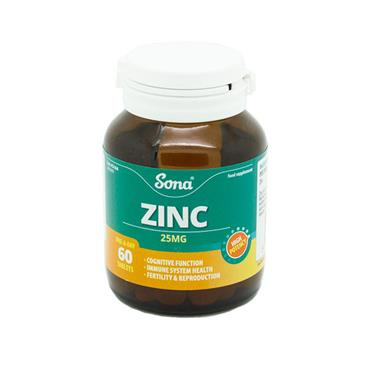 Sona Zinc 25mg 60 Tablets - Medipharm Online - Cheap Online Pharmacy Dublin Ireland Europe Best Price