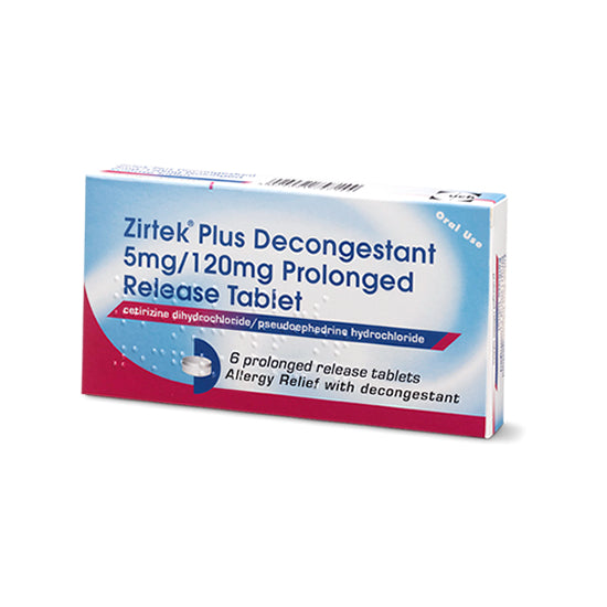 Zirtek Plus Decongestant 5mg/120mg Prolonged Release Tablet 6 Pack - Medipharm Online - Cheap Online Pharmacy Dublin Ireland Europe Best Price