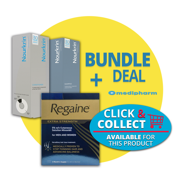 Bundle Deal - Nourkrin Shampoo + Nourkrin Conditioner + Regaine Solution 3 Months Supply - Medipharm Online