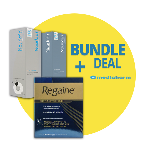 Bundle Deal - Nourkrin Shampoo + Nourkrin Conditioner + Regaine Solution 3 Months Supply - Medipharm Online - Cheap Online Pharmacy Dublin Ireland Europe Best Price