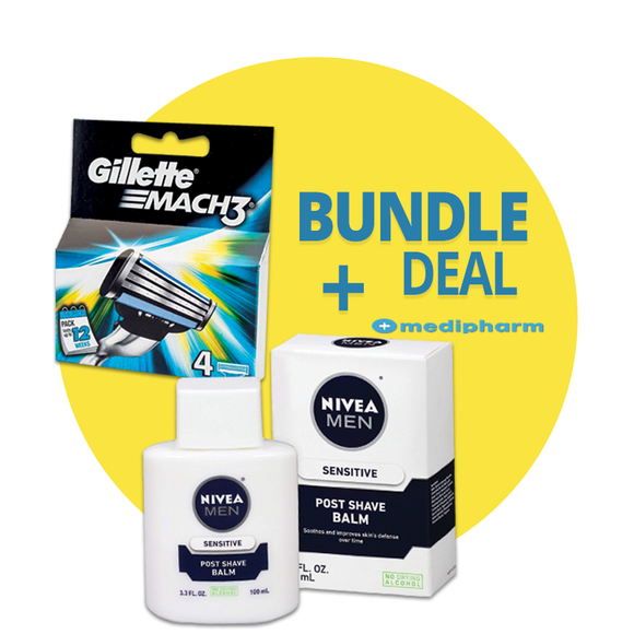 Bundle Deal - Gillette Mach 3 Razor Blades - 4 Cartridges + NIVEA MEN Sensitive Post Shave Balm - Medipharm Online - Cheap Online Pharmacy Dublin Ireland Europe Best Price