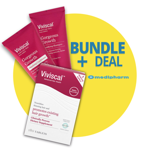Bundle Deal - Viviscal Maximum Strength Hair Growth Supplement 180 tablets (3 MONTHS SUPPLY)) + Viviscal Gorgeous Growth Densifying Shampoo + Conditioner - Medipharm Online - Cheap Online Pharmacy Dublin Ireland Europe Best Price