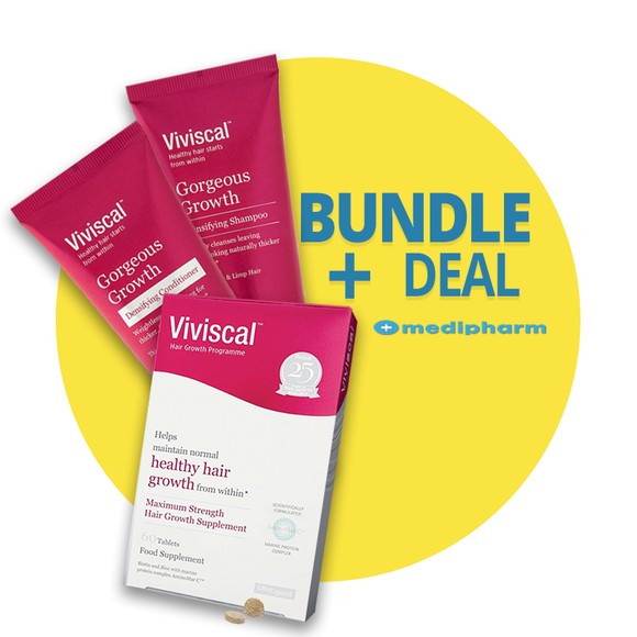 Bundle Deal - Viviscal Maximum Strength Hair Growth Supplement 60 tablets (1 MONTH SUPPLY)) + Viviscal Gorgeous Growth Densifying Shampoo + Conditioner - Medipharm Online - Cheap Online Pharmacy Dublin Ireland Europe Best Price