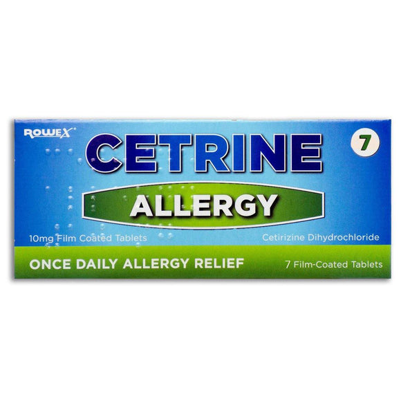 Cetrine Hayfever Allergy Relief 10mg Cetirizine Tablets.